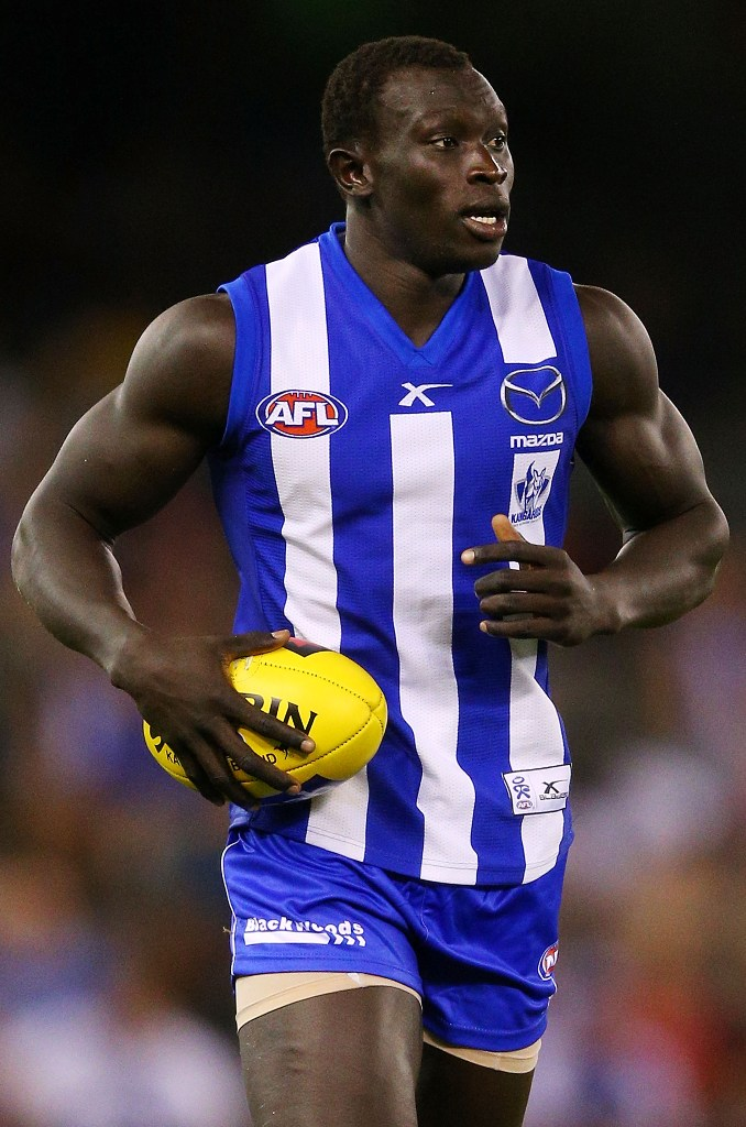 Majak Daw of the North Melbourne Kangaroos runs looks ahead uring the round one AFL NAB Cup match between the Richmond Tigers and the North Melbourne Kangaroos at Etihad Stadium on February 22, 2013 in Melbourne, Australia.