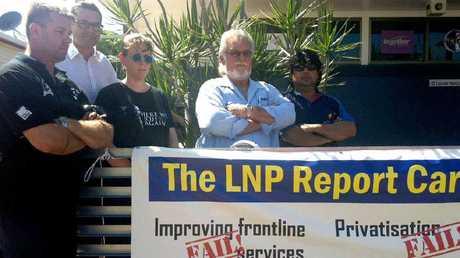 AMWU state organiser Jason Lund, lawyer Aaron Sellentin, QCU secretary Terese Kingston, Together union organiser Dolph Lossberg and AMWU treasurer Jamie Ahmat gather to protest.