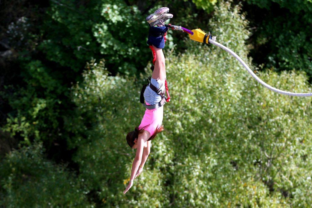 Caitlyn flying through the air.