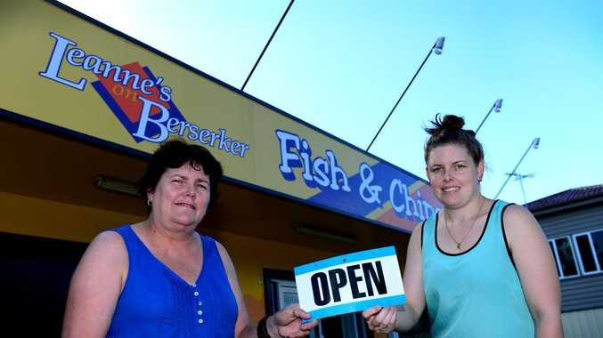Leanne Russell and daughter Mellissa Russell ready to open Leanne's on Berserker on Good Friday, after being closed since the floods. Photo Sharyn O'Neill / The Morning Bulletin