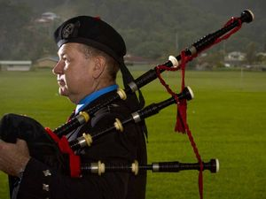 Alistair Wallace plays the Bagpipes