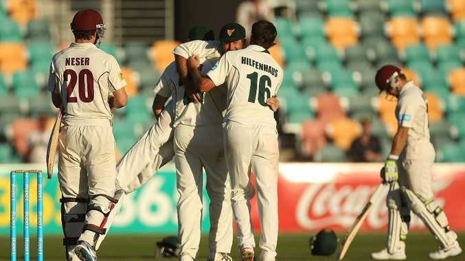 Ricky Ponting of the Tigers is picked up by teammates James Faulkner and Ben Hilfenhaus in celebration of victory in the Sheffield Shield final between the Tasmania Tigers and the Queensland Bulls at Blundstone Arena on March 26, 2013 in Hobart, Australia.
