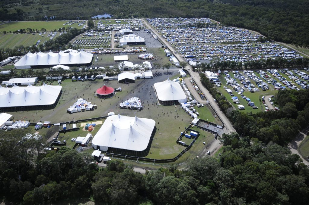 Aerial view of the Blues and Roots Festival site at Tyagarah.