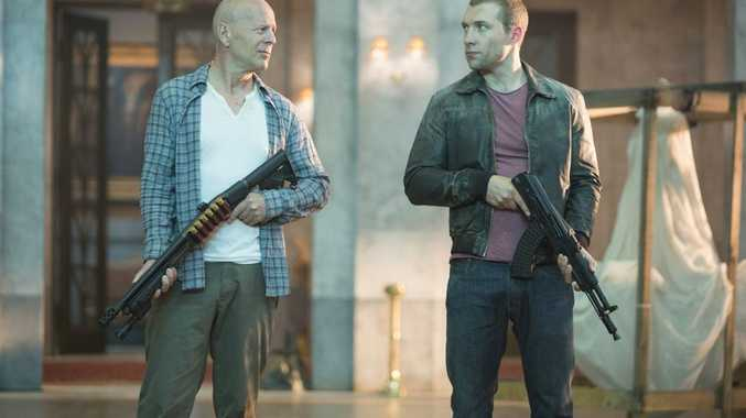 Bruce Willis, left, and Jai Courtney in a scene from the movie A Good Day To Die Hard.