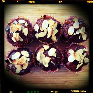 Nectarine apricot and almond muffins.