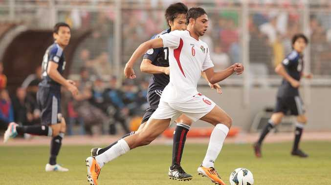 Saeed Al Murjan of Jordan in action during the FIFA World Cup Asian qualifier match between Jordan and Japan at King Abdullah International Stadium on March 26, 2013 in Amman, Jordan.