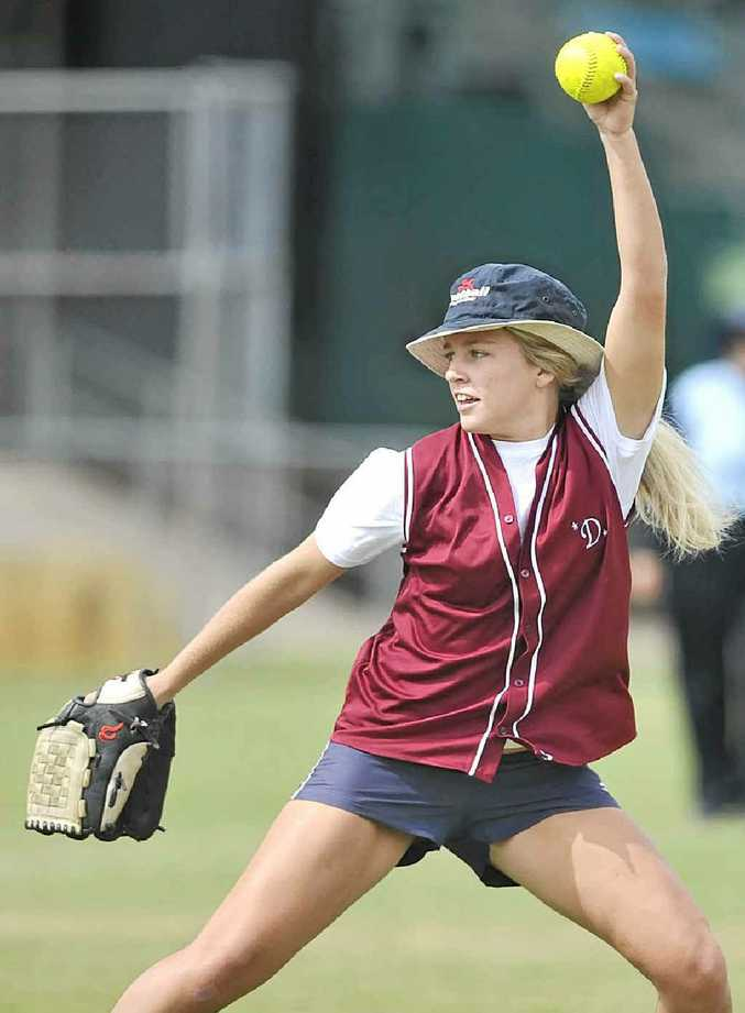 RIGHT: Laani Winkler-Harding pitching for Dodgers Demons against Goonellabah Lotto in the Division 2 grand final at Albert Park, Lismore.