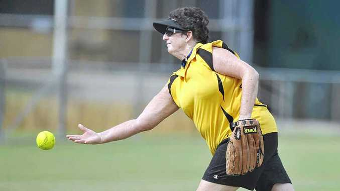TRISH CLAYDON pitching for Goonellabah against Dodgers Demons in the Division 2 grand final.