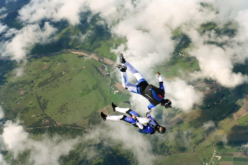 Geoff Harris lost control during a skydive and was plummeting at more than 200kmh above Toogoolawah.
