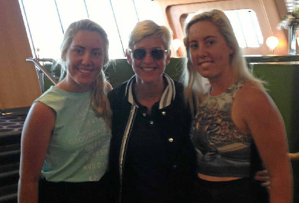 STAR COMPANY: Bundaberg's Emma and Demi Pressler-McHugh bumped into Ellen DeGeneres in the Qantas Chairman's Lounge at Sydney Airport.