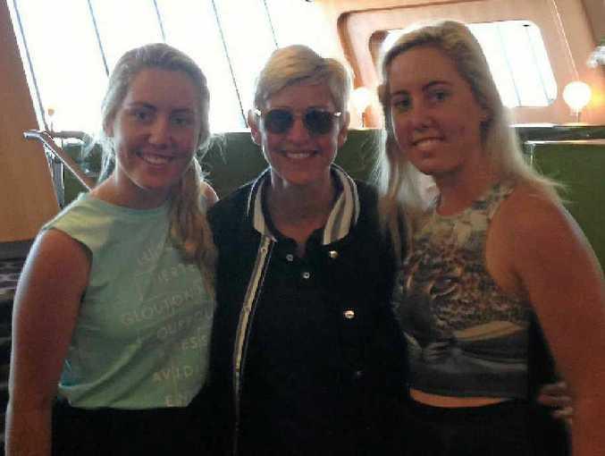STAR COMPANY: Bundaberg's Emma and Demi Pressler-McHugh bumped into Ellen DeGeneres in the Qantas Chairman's Lounge at Sydney Airport.