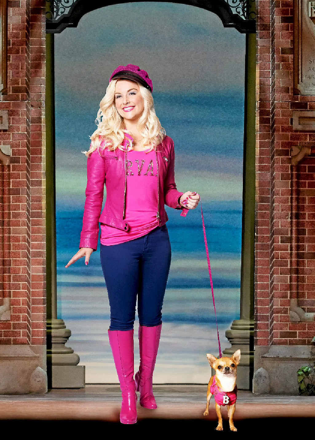 Character Elle Woods from the Legally Blonde musical now being staged at QPAC.