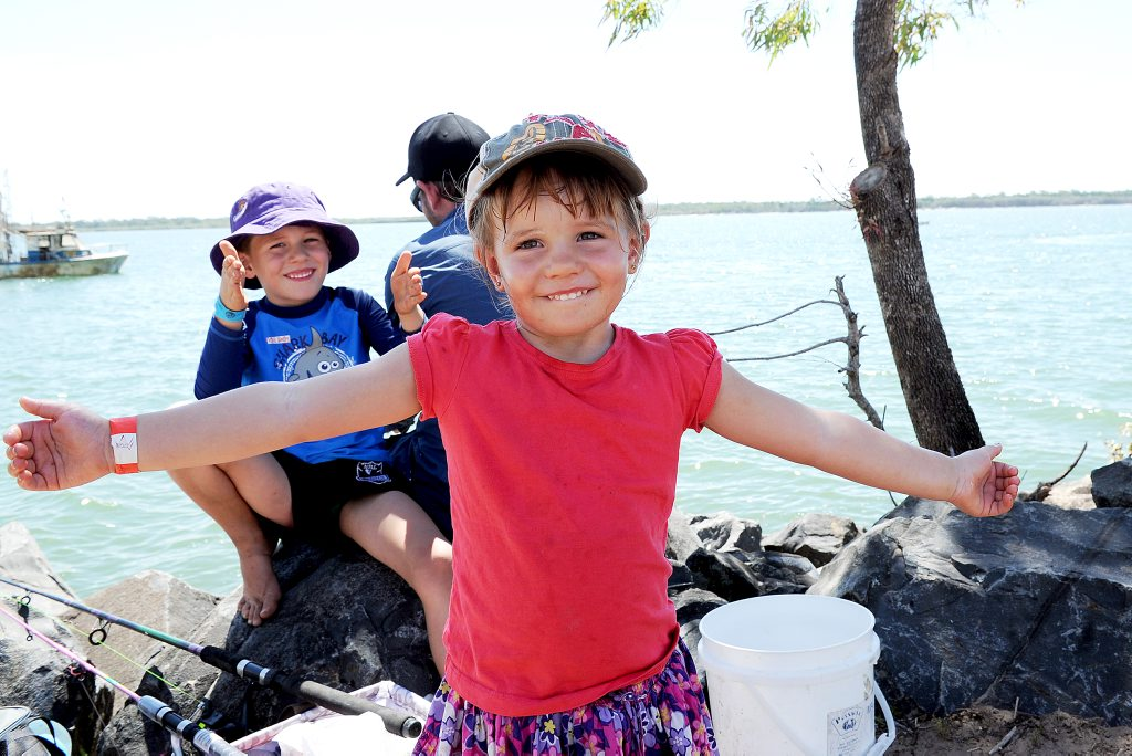 Burrum Heads Easter Fishing Classic entrant three-year-old Kate Schouten says 'I caught a whiting this big'.