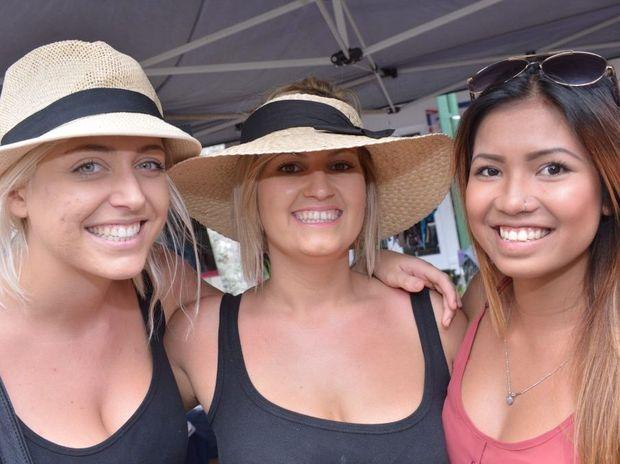 Becky Barnett, Sam McKenzie and Nat Srisaard at the Ocean Street Festival in Maroocydore.