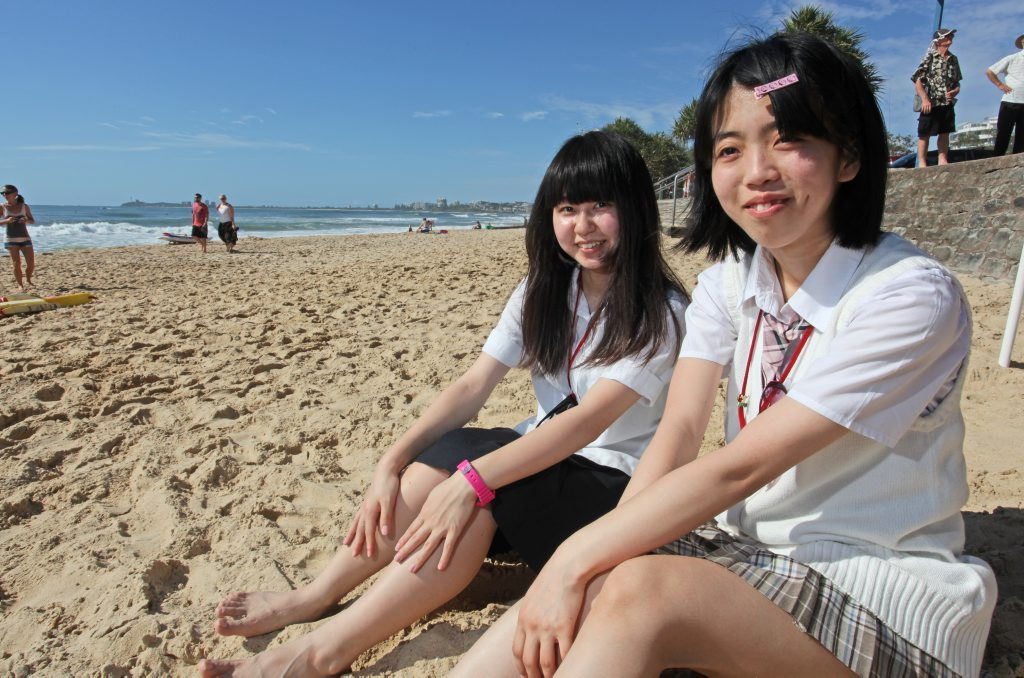 Nana Hariu of Miyagi prefecture and Kyoka Sato from Fukushima prefecture, at the Maroochydore as part of Friendship Force exchange. Photo Darryn Smith / Sunshine Coast Daily