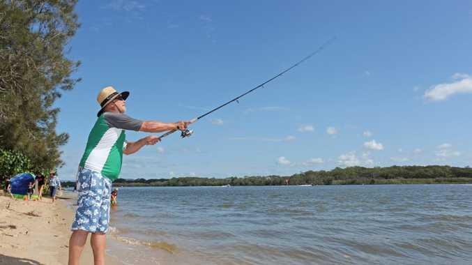 Nigel Barrera of Manly enjoying a bit of fishing on Chamber's Island. Photo Darryn Smith / Sunshine Coast Daily