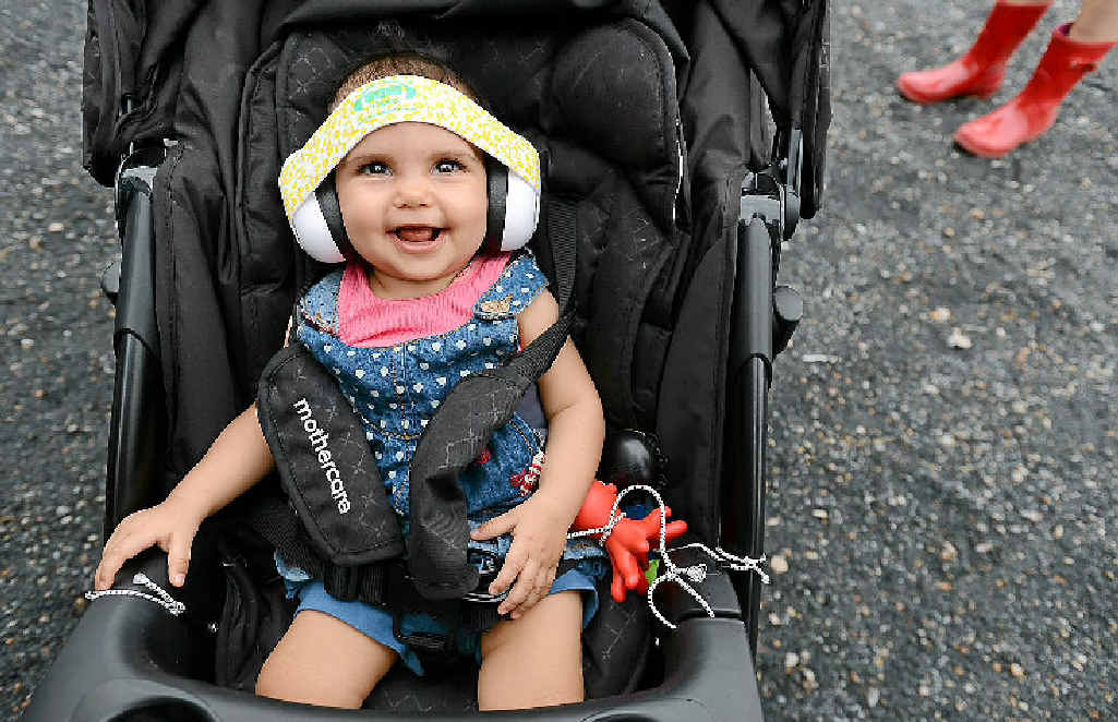 Eight-month-old Anajali Howell from Brisbane taking in the sites, not so much the sounds of this year's Bluesfest.