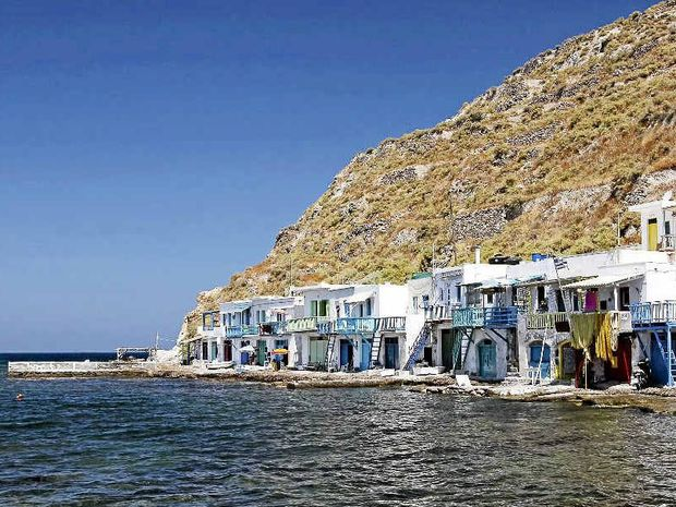 The typical little village of Klima on Milos in Greece; the ground floors of the houses were used to give shelter to the boats during the winter