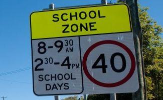 School zone speed sign.