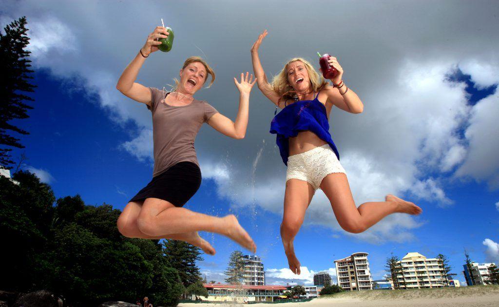 Sol cleanse with Miriam ter Borg and Allie LeDuc at Coolangatta beach.