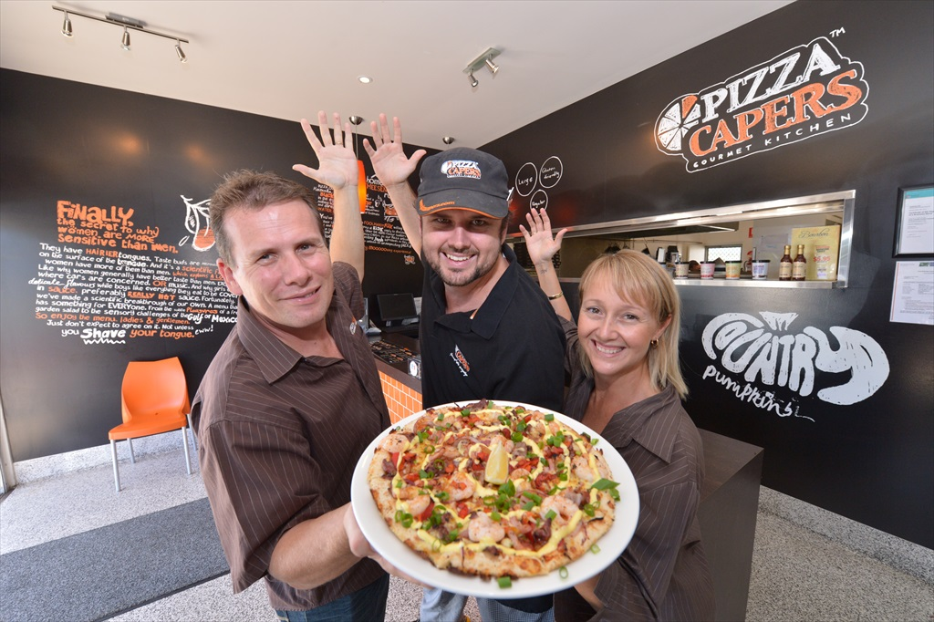 Pizza Capers in Marcoola: Steven Davis, Jake Mygrin and Vanessa Davis.