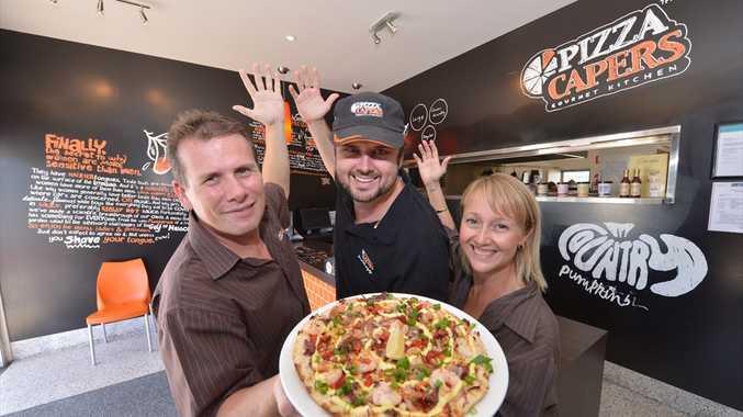 Pizza Capers in Marcoola: Steven Davis, Jake Mygrin and Vanessa Davis.