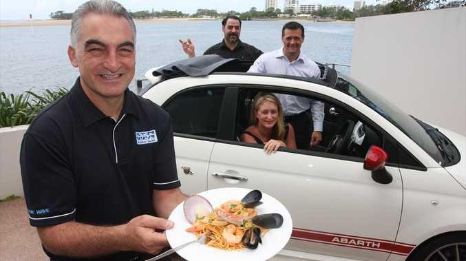 Joe Natoli, front, with Debbie Battaglini, in the car, Matthew Murray and owner of Arnica Restaurant Michael Torchia.