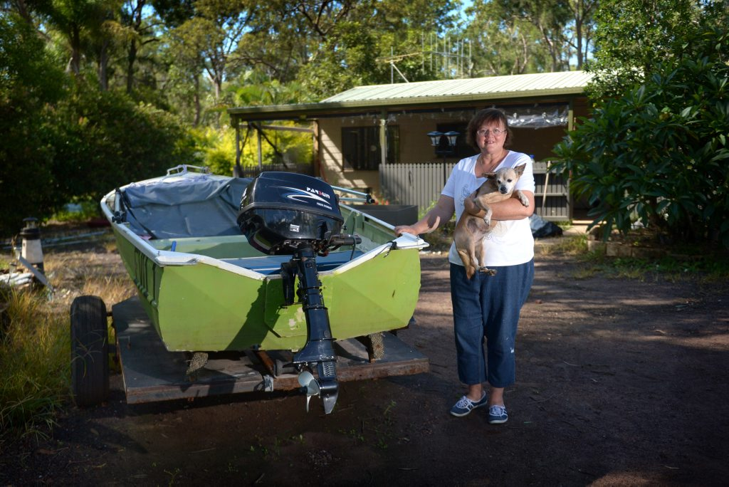 Stacey Wakeman in her Baffle Creek home after the Australia Day floods. Stacey is still waiting on insurance companies two months after the flooding event.