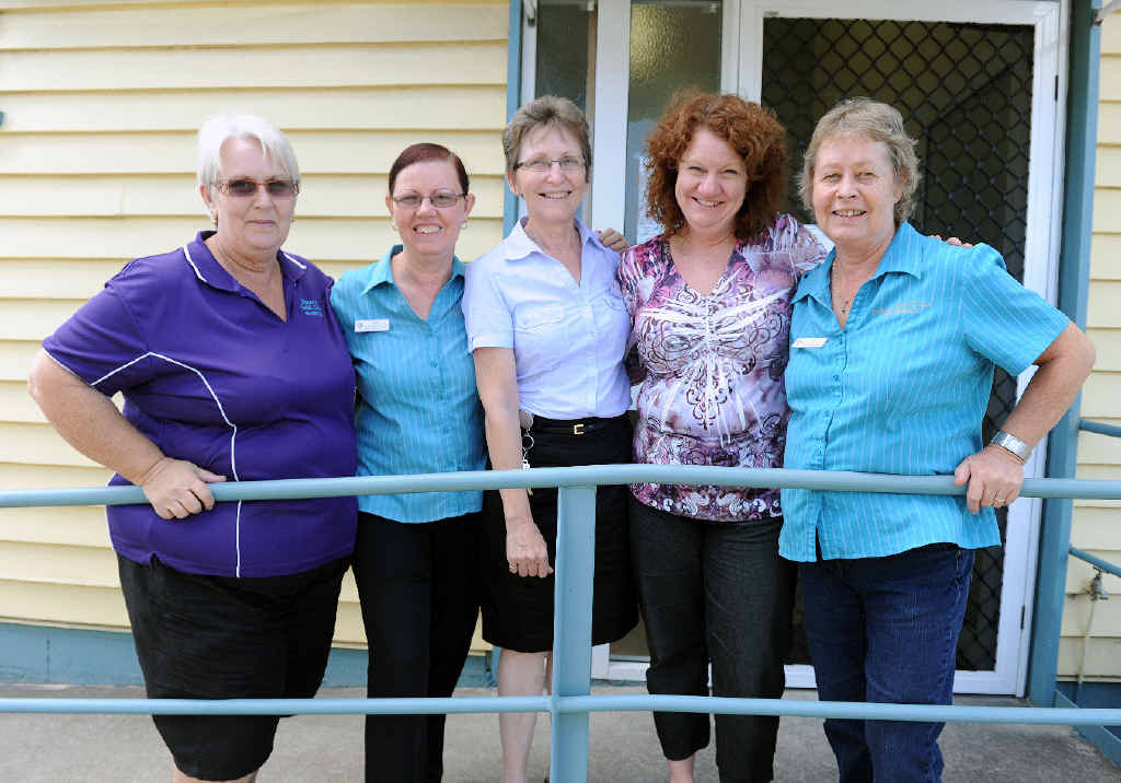 IMPORTANT WORK: Gladstone Women's Health Centre workers Michell Potter, Julie Knight, Lyn Russell, Sandy Prizeman and Pam Brown.