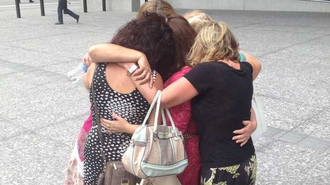 Six of the alleged rape victims of John Collins outside Brisbane District Court.