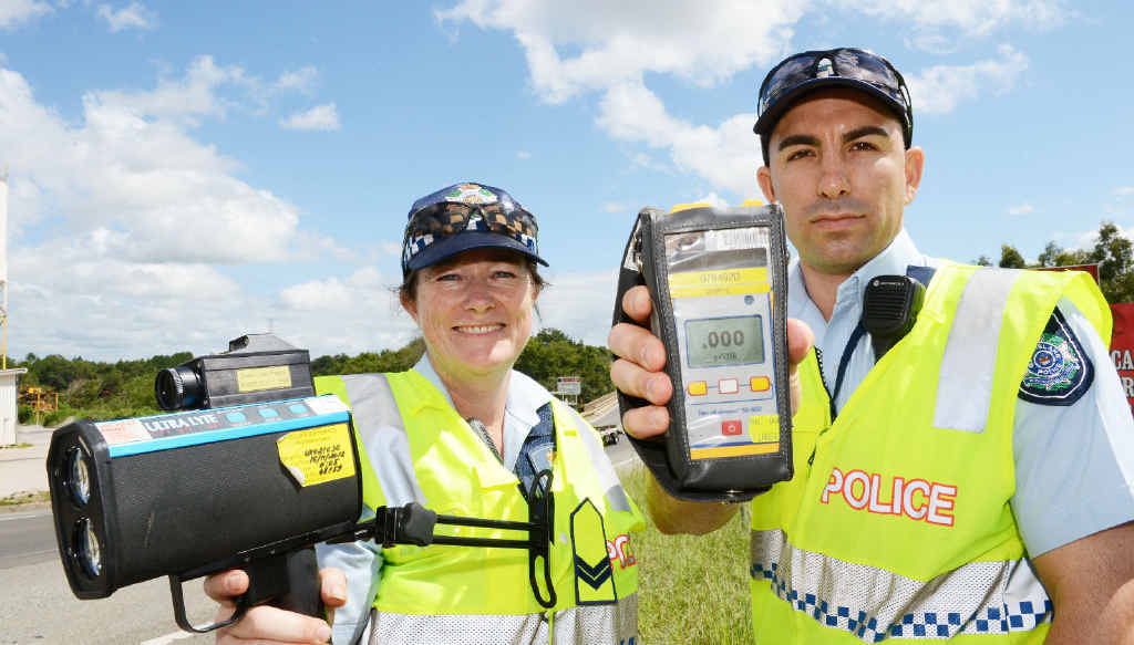 Snr Const Oddette Reid and Const Jeremy Gardiol conduct breath tests, but so far no one has been caught drink-driving.