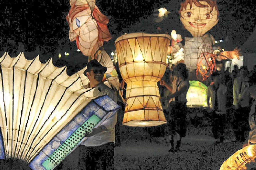 LIGHTING UP: Lismore lanterns at the blues festival.