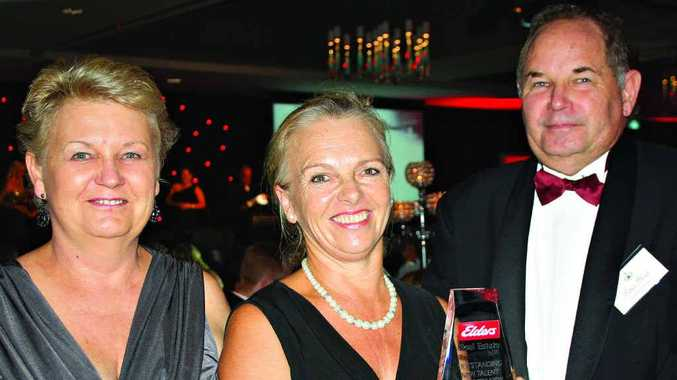 Di Davidson, left, of Elders Mooloolaba with Louise Taylor and Peter Flint of Elders Nambour at the 2013 Elders Queensland and Northern New South Wales Annual Awards in Brisbane.