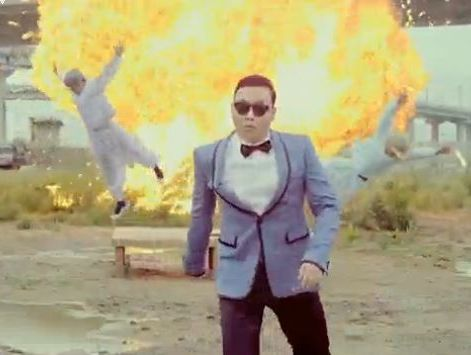 A scene from the video taking the mickey out of the North Korean leader using Gangnam Style music.