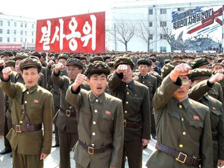 North Koreans attend a rally against the US and South Korea in Nampo.