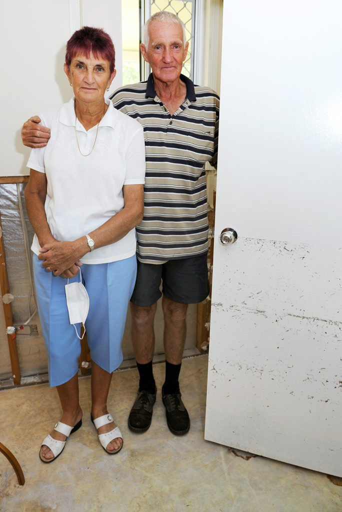 Aldershot flood victims Bob and Kay Turner are stuck in limbo until their insurance company goes ahead with repairs. A metre of water went through their home.