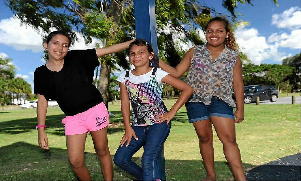 Shakira Chapman, 10, Indiana Oakley, 10, and Yarzie Chapman, 12.