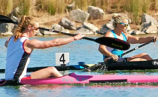 STROKE FOR STROKE: The Sunshine Coast's Alyce Burnett and Sydney's Naomi Flood get down to business at the national canoe sprint championships in Perth.