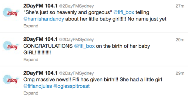 Some of the tweets from the @2DayFMSydney Twitter account.