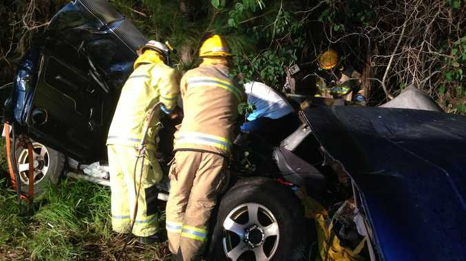 A 30-year-old man has walked from a crash into trees at Woombye.