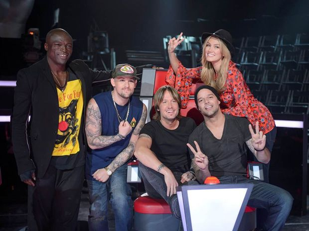 Keith Urban with The Voice coaches Seal, Joel Madden, Ricky Martin and Delta Goodrem.