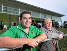 REVITALISED CLUB: Ipswich Knights Soccer Club president Troy Beahan joins Freemason Alan Townson, whose organisation donated $40,000, in front of the new Knights clubhouse.