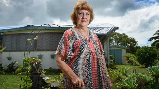 Pamela Duncan of Evans Heads needs a walking stick to get around, has a lung disorder and lives by herself without help from family and friends. Her roof was damaged in the November storms and her insurer, Victorian company RACV has still not offered to help fix her asbestos shack. Photo Patrick Gorbunovs / The Northern Star