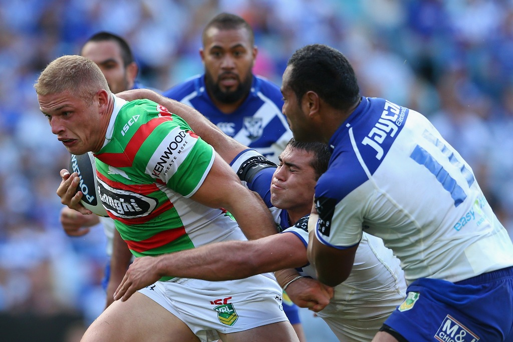 George Burgess of the Rabbitohs makes a break during the round four NRL match between the Canterbury Bulldogs and the South Sydney Rabbitohs at ANZ Stadium on March 29, 2013 in Sydney, Australia.