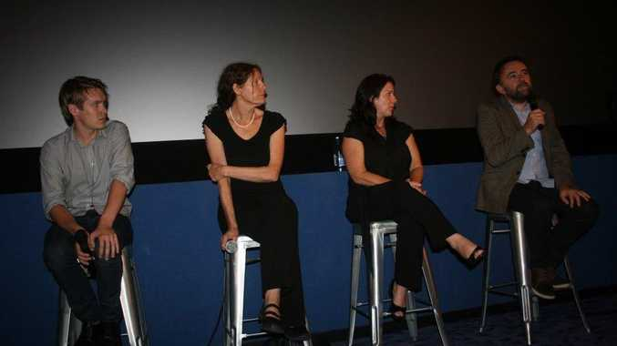 (Left-right) Actor, Alex Williams, Christine Assange, co-founder of WikiLeaks Australian Citizen Alliance, Samantha Costa and writer/director Robert Connolly at Byron's Palace Cinema.