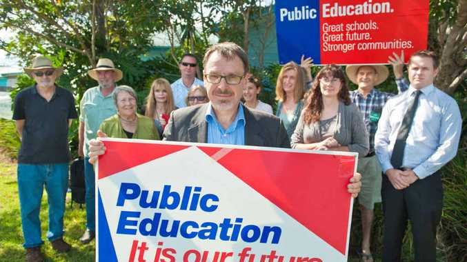 FUNDING FIGHT: Greens MLC John Kaye and supporters are angry about funding cuts to education.
