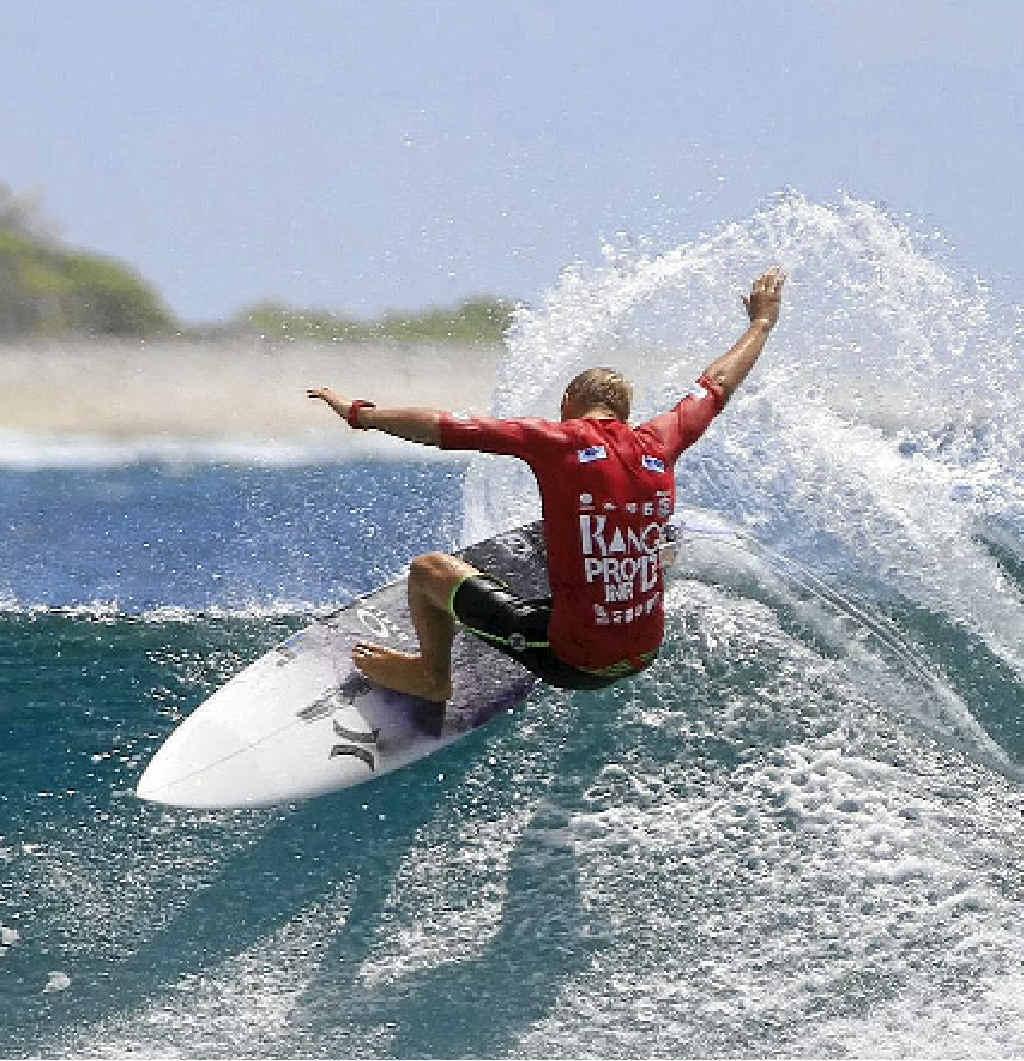 Rising Coast star Kai Hing in action at the ASP Rangi Pro Junior in French Polynesia.
