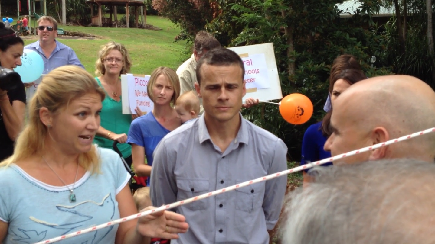 Alstonville preschool parents challenging education Minister Adrian Piccoli at Clunes in 2009.