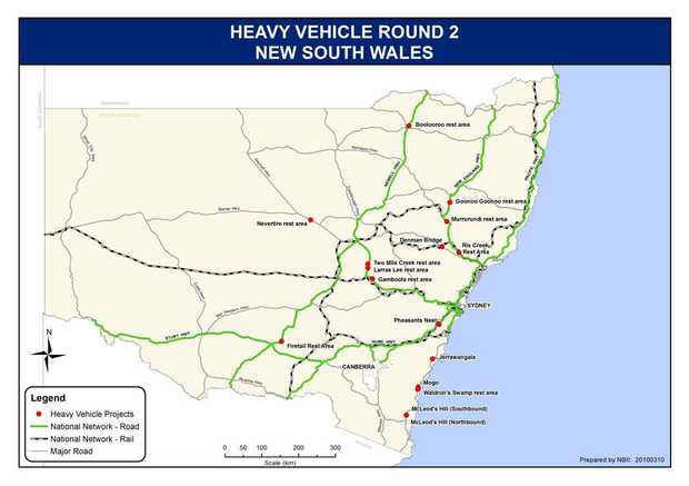 In total the Federal Government is delivering 83 new and refurbished rest stops across NSW, including four on the Princes Highway.  This map shows the location of 15 to be delivered in round two of the Heavy Vehicle Safety and Productivity Program.