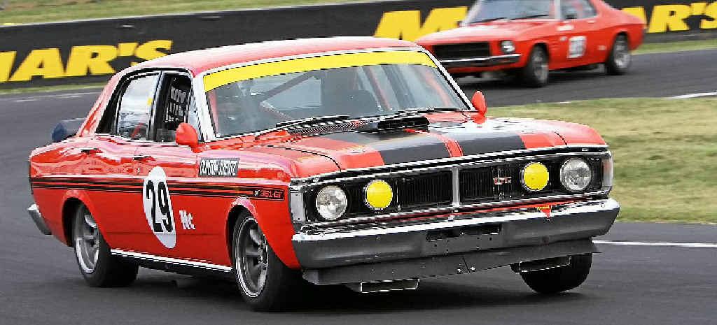 Clinton Arentz drove his Falcon GTHO to glory at the Bathurst Motor Festival.